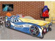Dětská autopostel CARS POLICIE 160x80 cm s MATRACÍ ZDARMA