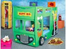 Dětská patrová autopostel HAPPY BUS 190x90 cm - zelená s MATRACEMI ZDARMA