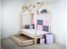 Dětská designová postel z masivu DOMEČEK 1 se ŠUPLÍKEM