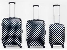 Moderní cestovní kufry PUNTÍKY - černé (SADA 3 kusy)