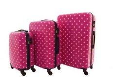 Moderní cestovní kufry PUNTÍKY - růžové