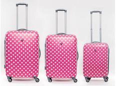 Moderní cestovní kufry PUNTÍKY - růžové (SADA 3 kusy)