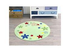 Dětský koberec DEKO FLOWER FIELD - zelený kulatý