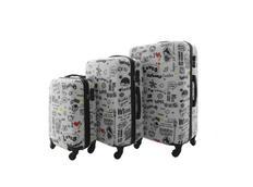 Moderní cestovní kufry LOVE - bílé