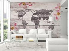 Tapeta romantická mapa světa - 350x245 cm