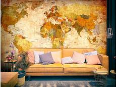 Tapeta klasická mapa světa - 300x210 cm