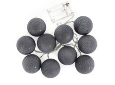 Bavlněné svítící kuličky LED 10 ks - tmavě šedé