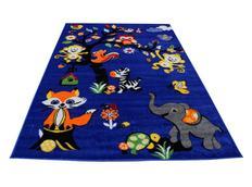 Dětský koberec Veselá zvířátka - modrý