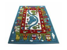 Dětský koberec Domečky - modrý