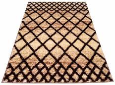 Kusový koberec SHAGGY TOP - mřížka - béžový