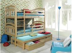 Dětská patrová postel s výsuvnou přistýlkou z MASIVU bez šuplíku - PV006