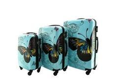 Moderní cestovní kufry MOTÝL - modré