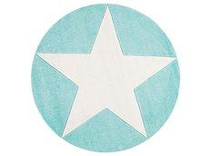 Dětský kulatý koberec STAR mátovo-bílý 133 cm
