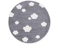 Dětský kulatý koberec MRÁČKY stříbrno-šedý 133 cm