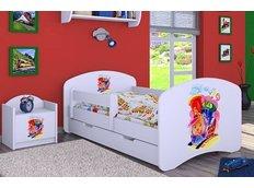 Dětská postel se šuplíkem 180x90cm VESELÁ LOKOMOTIVA