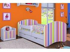 Dětská postel se šuplíkem 160x80cm PROUŽKY