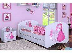 Dětská postel se šuplíkem 180x90cm PRINCEZNA A KONÍK