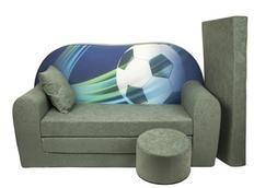 Dětská pohovka - Fotbalový míč - šedá