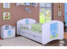 Dětská postel se šuplíkem 160x80cm MODRÝ MEDVÍDEK