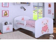 Dětská postel bez šuplíku 180x90cm MEDVÍDEK SE SRDÍČKEM