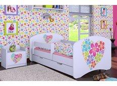 Dětská postel se šuplíkem 160x80cm KYTIČKY V SRDÍČKU