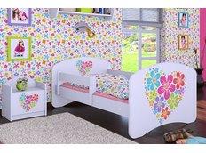 Dětská postel bez šuplíku 180x90cm KYTIČKY V SRDÍČKU