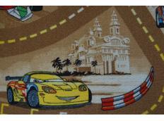 Dětský koberec CARS hnědý - pro kluky