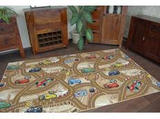 Dětský koberec CARS hnědý metrazovy