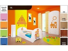 Dětská postel pro DVA (s výsuvným lůžkem) 180x90 cm - LOKOMOTIVA