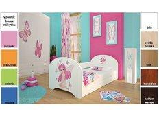 Dětská postel pro DVA (s výsuvným lůžkem) 180x90 cm - VÍLA A MOTÝLCI