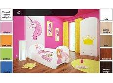Dětská postel pro DVA (s výsuvným lůžkem) 180x90 cm - PRINCEZNA A JEDNOROŽEC