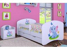 Dětská postel se šuplíkem 160x80cm SLON A MOTÝLCI