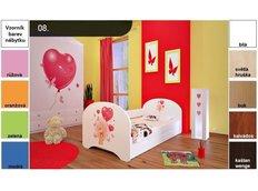 Dětská postel pro DVA (s výsuvným lůžkem) 160x80 cm - MEDVÍDEK S BALONKY