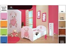Dětská postel pro DVA (s výsuvným lůžkem) 160x80 cm - MEDVÍDEK SE SRDÍČKEM