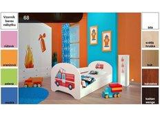 Dětská postel pro DVA (s výsuvným lůžkem) 180x90 cm - HASIČI