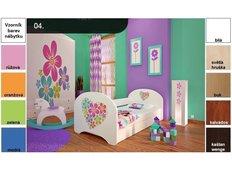 Dětská postel pro DVA (s výsuvným lůžkem) 200x90 cm - KYTIČKY V SRDÍČKU