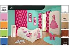 Dětská postel pro DVA (s výsuvným lůžkem) 200x90 cm - PRINCEZNA A KONÍK