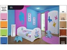 Dětská postel pro DVA (s výsuvným lůžkem) 200x90 cm - SLON A MOTÝLCI