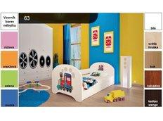 Dětská postel pro DVA (s výsuvným lůžkem) 160x80 cm - SUPER LOKOMOTIVA