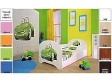 Dětská postel pro DVA (s výsuvným lůžkem) 160x80 cm - ZELENÉ AUTO