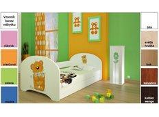 Dětská postel pro DVA (s výsuvným lůžkem) 160x80 cm - MEDVÍDEK S KYTIČKAMI