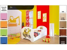 Dětská postel pro DVA (s výsuvným lůžkem) 200x90 cm - ŽLUTÝ BAGR