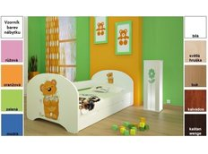 Dětská postel pro DVA (s výsuvným lůžkem) 200x90 cm - MEDVÍDEK S KYTIČKAMI