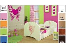 Dětská postel pro DVA (s výsuvným lůžkem) 200x90 cm - VÍLA A SRDÍČKO
