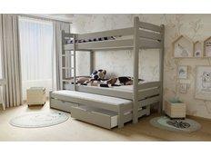 Dětská patrová postel s výsuvnou přistýlkou z MASIVU se šuplíky - PPV007 - šedá