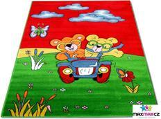 Dětský koberec MEDVÍDEK červený