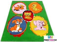Dětský koberec ZVÍŘÁTKA green