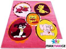 Dětský koberec ZVÍŘÁTKA pink