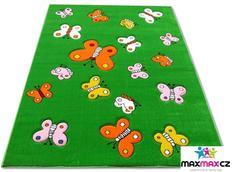 Dětský koberec BUTTERFLY green