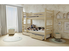 Dětská patrová postel z MASIVU 180x80cm se šuplíky - M07 bezbarvý lak